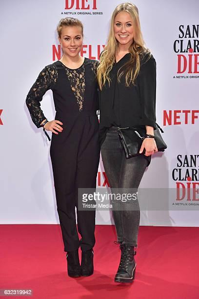 Sarah Tkotsch and Sina Tkotsch attend the Santa Clarita Diet Special Screening at CineStar on January 20 2017 in Berlin Germany