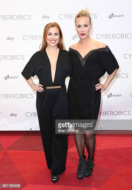 Sarah Tkotsch and Sina Tkotsch attends the Grand Opening of Cyberobics on April 14 2016 in Berlin Germany