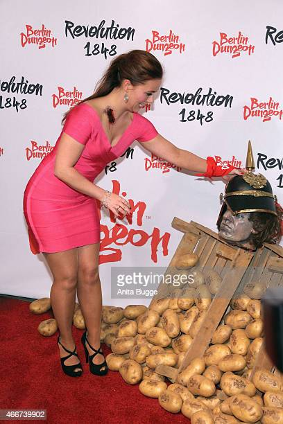 Sarah Tkotsch attends the 'Revolution 1848' Show premiere at Berlin Dungeon on March 18 2015 in Berlin Germany