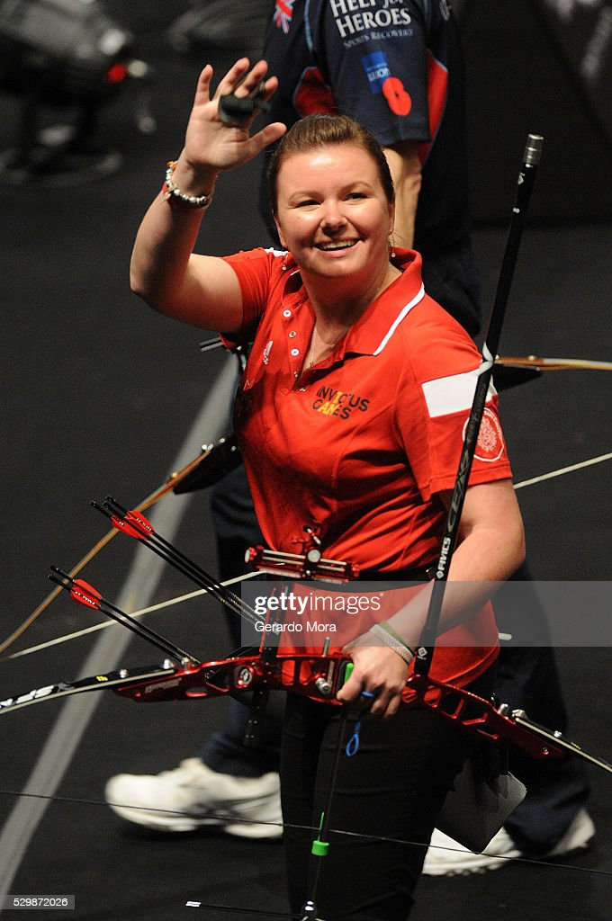 Sarah Travis (Canada) greets during Archery Finals at the Invictus Games at ESPN Wide World of Sports complex on May 9, 2016 in Lake Buena Vista, Florida.
