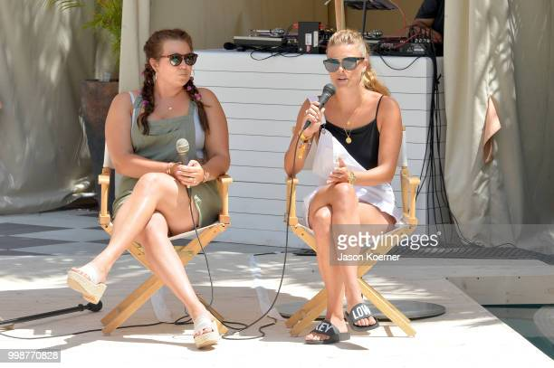 Sarah Tripp and Nina Agdal speak during the Aerie Swim 2018 panel during the Paraiso Fashion Fair at the Plymouth Hotel Miami on July 14 2018 in...