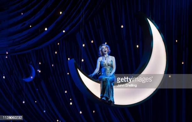 Sarah Tynan as Hanna Glawari performs on stage in a performance by English National Opera of the Merry Widow at London Coliseum on February 27 2019...