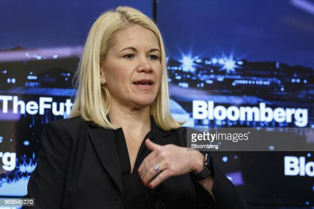 Sarah Urbanowicz corporate vice president and chief information security officer of AECOM speaks during a Bloomberg Future of Cybersecurity...