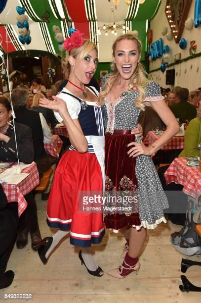 Sarah Valentina Winkhaus and Anna Katharina Kraft during the BMW Armbrustschiessen as part of the Oktoberfest 2017 at ArmbrustSchuetzenfesthalle on...