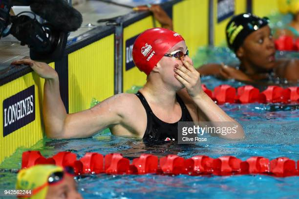 Sarah Vasey of England celebrates after winning the Women's 50m Breaststroke Final on day two of the Gold Coast 2018 Commonwealth Games at Optus...