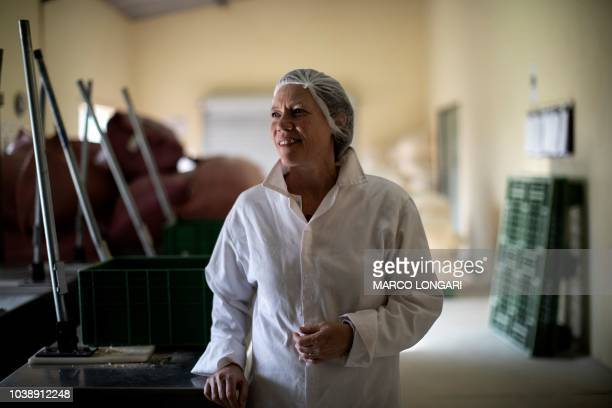 Sarah Venter the founder of Eco Products lab poses at the Eco Products lab headquarters in Louis Trichardt in the Limpopo Province on August 27 2018...