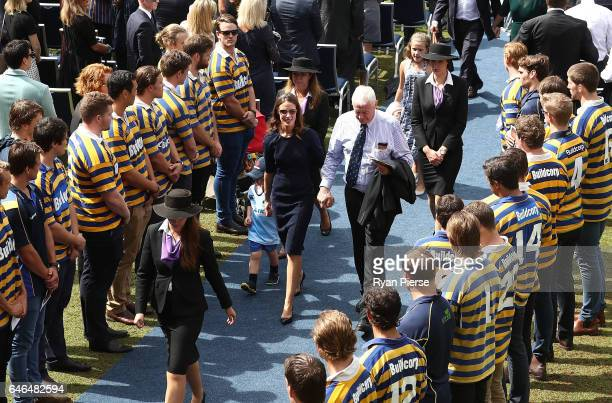 Sarah Vickerman the widow of Dan Vickerman leaves after the Public Memorial for former Australian Rugby Union player Dan Vickerman at Sydney...