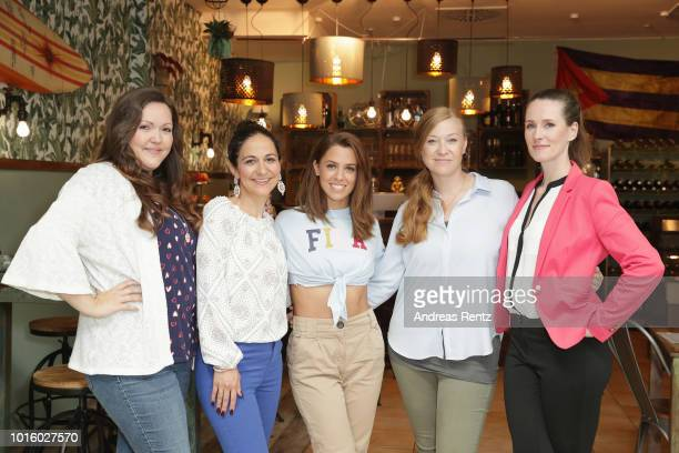 Sarah Victoria Schalow Shirin Soraya Singer Vanessa Mai Franziska Arndt and Katrin Hoeft pose for a photograph during a photo call for the new tv...
