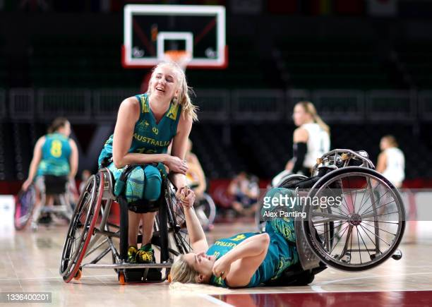 Sarah Vinci of Team Australia falls during the Wheelchair Basketball Women's preliminary round group A match between team Germany and team Australia...