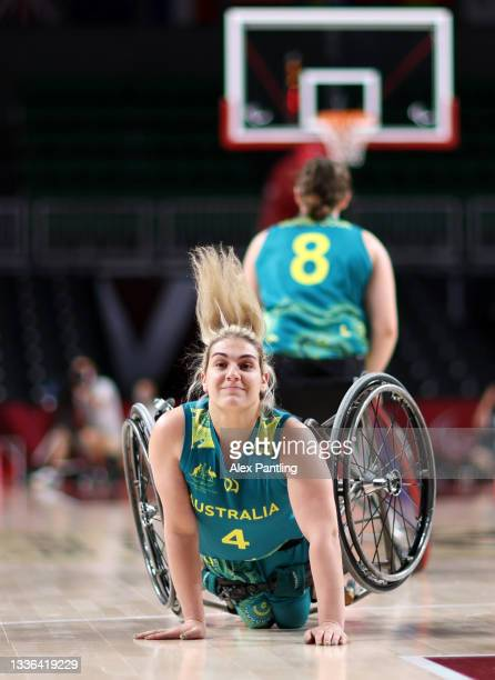 Sarah Vinci of Team Australia falls during the Wheelchair Basketball Women's preliminary round group A match between team Germany and team Great...