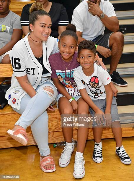 Sarah Vivan Essence Vivan and Dwayne Michael Carter III attend LudaDay Weekend Celebrity Basketball Game at Morehouse College Forbes Arena on...