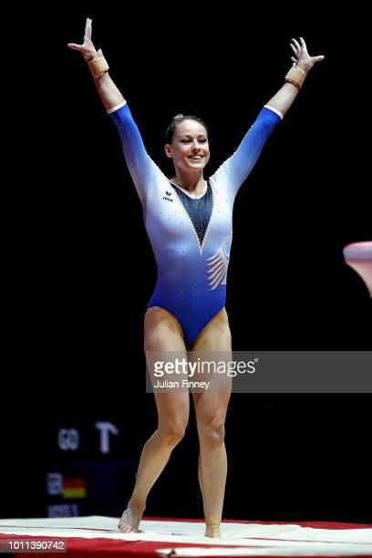 Sarah Voss of Germany competes in the Women's Individual Vault Final during the gymnastics on Day Four of the European Championships Glasgow 2018 at...