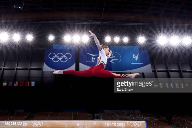 Sarah Voss of Team Germany competes on balance beam during Women's Qualification on day two of the Tokyo 2020 Olympic Games at Ariake Gymnastics...