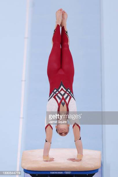 Sarah Voss of Team Germany competes on vault during Women's Qualification on day two of the Tokyo 2020 Olympic Games at Ariake Gymnastics Centre on...