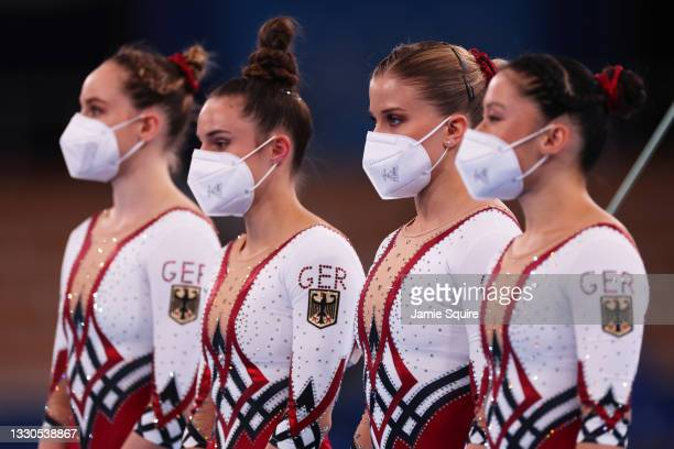Sarah Voss, Pauline Schaefer-Betz, Elisabeth Seitz and Kim Bui of Team Germany look on during Women's Qualification on day two of the Tokyo 2020...