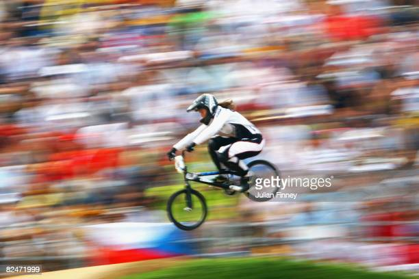 Sarah Walker of New Zealand competes in the Women's BMX Seeding Phase at the Laoshan Bicycle Moto Cross Venue during Day 12 of the Beijing 2008...