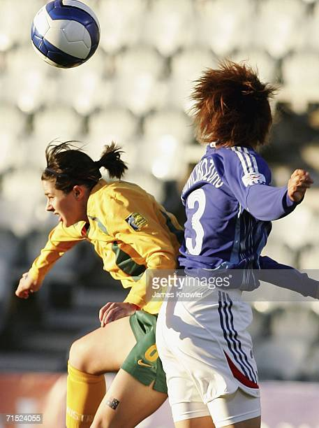 Sarah Walsh of Australia and Aya Shimokozuru of Japan tries to head the ball during the AFC Womens Asian Cup Semi Final match between Japan and...