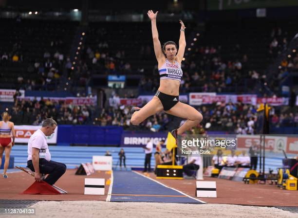 Sarah Warnock jumps during the Women's Long Jump during Day Two of the SPAR British Athletics Indoor Championships at Arena Birmingham on February 10...