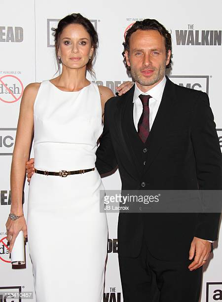 Sarah Wayne Callies and Andrew Lincoln attend the AMC's 'The Walking Dead' Season 3 Premiere held at Universal CityWalk on October 4 2012 in...