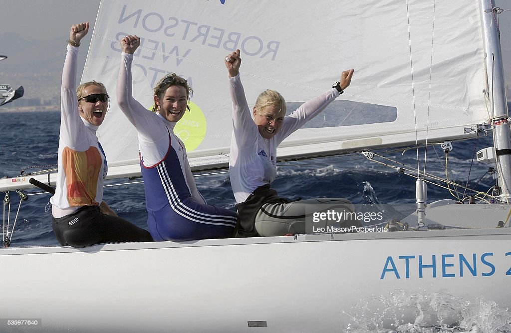 Sarah Webb, Shirley Robertson and Sarah Ayton of Great Britain win gold in the women's keelboat yngling event on August 21, 2004 during the Athens 2004 Summer Olympic Games at Agios Kosmas Olympic Sailing Centre in Athens, Greece.