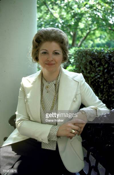 Sarah Weddington President Carter's special assistant for Women's affairs siting on porch of the WH