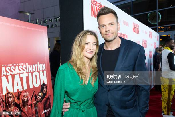 Sarah Williams and Joel McHale attend the Premiere Of Neon And Refinery29's Assassination Nation at ArcLight Hollywood on September 12 2018 in...