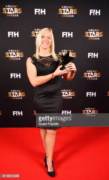 Sarah Wilson of Scotland with her female umpire of the year award during the Hockey Star Awards night at Stilwerk on February 5 2018 in Berlin Germany