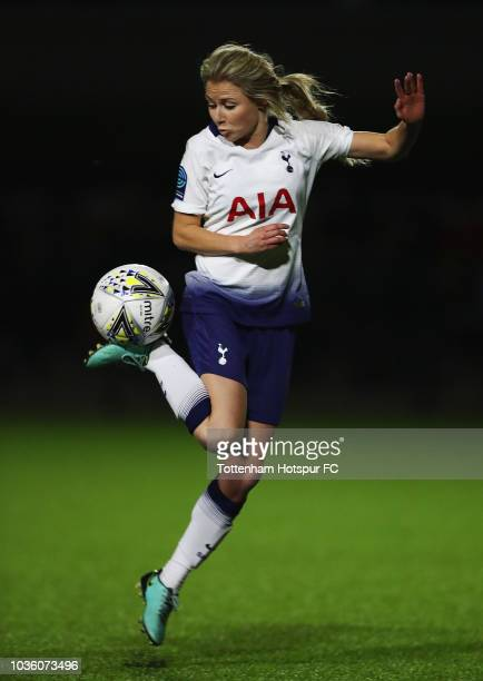 Sarah Wiltshire of Spurs in action during the WSL 2 match between Leicester City and Tottenham Hotspur at Farley Way Stadium on September 19 2018 in...