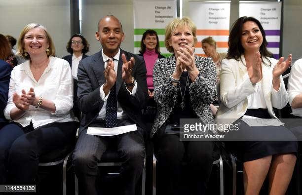 Sarah Wollaston MP Chuka Umunna MP Anna Soubry MP and Heidi Allen MP at the launch of The Independent Group European election campaign at We The...