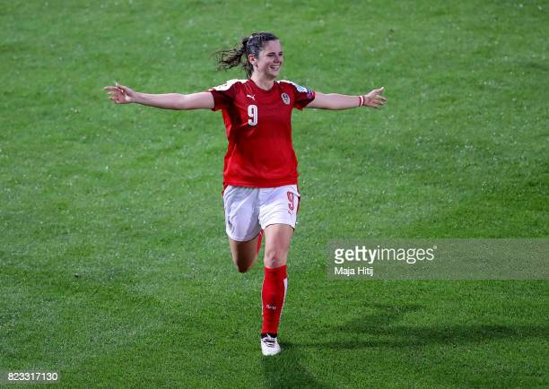 Sarah Zadrazil of Austria celebrates after she scores the opening goal during the Group C match between Iceland and Austria during the UEFA Women's...