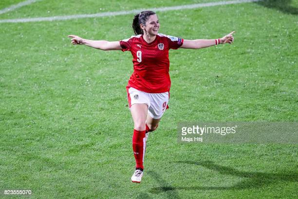 Sarah Zadrazil of Austria celebrates scoring her sides first goal during the Group C match between Iceland and Austria during the UEFA Women's Euro...