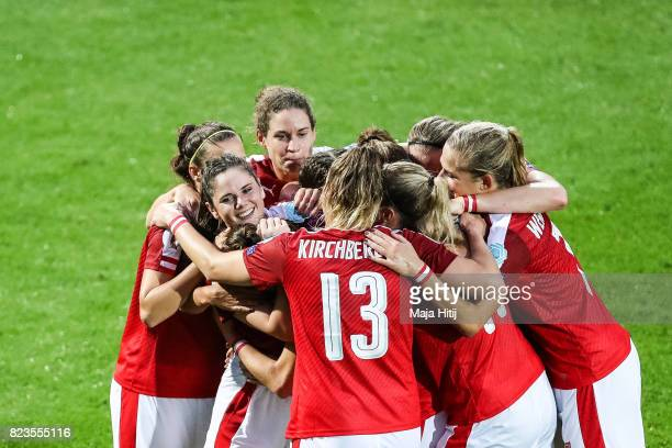 Sarah Zadrazil of Austria celebrates scoring her sides first goal with the team during the Group C match between Iceland and Austria during the UEFA...