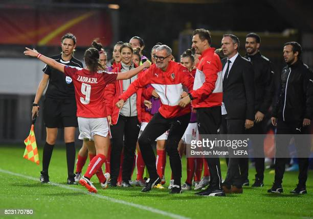Sarah Zadrazil of Austria celebrates with teammates after scoring her side's first goal during the UEFA Women's EURO 2017 Group C match between...