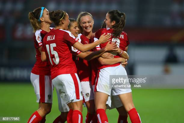 Sarah Zadrazil of Austria Women celebrates with her team mates after scoring to make it 01 during the UEFA Women's Euro 2017 match between Iceland...