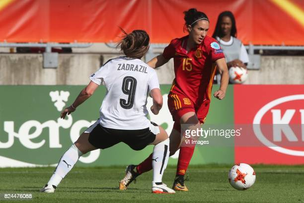 Sarah Zadrazil of Austria women Silvia Meseguer of Spain during the UEFA WEURO 2017 quarter finale match between Austria and Spain at Koning Willem...