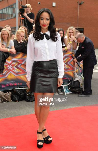SarahJane Crawford arrives for the Manchester auditions of The X Factor at Lancashire County Cricket Club on June 16 2014 in Manchester England
