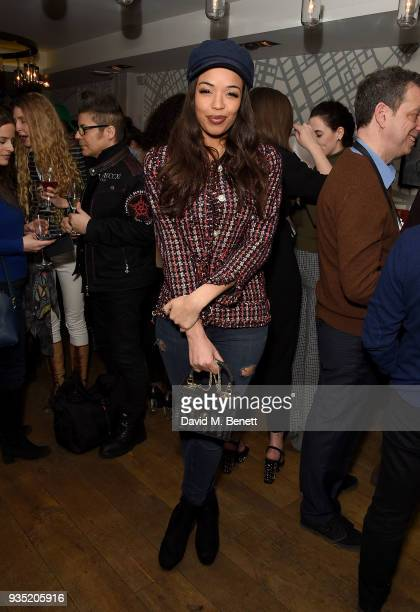 SarahJane Crawford attends the launch of The Real Greek's new Vegan Menu in Soho on March 20 2018 in London England