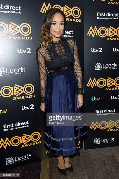 SarahJane Crawford attends the press launch for the 2015 MOBO Nominations at Ronnie Scott's Jazz Club on September 30 2015 in London England