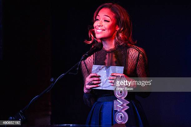 SarahJane Crawford presents the press launch for the 2015 MOBO Nominations at Ronnie Scott's Jazz Club on September 30 2015 in London England