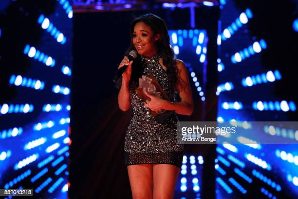 SarahJane Crawford speaks on stage at the MOBO Awards at First Direct Arena Leeds on November 29 2017 in Leeds England