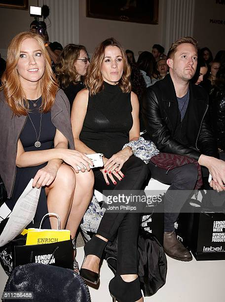 SarahJane Mee and Natalie Pinkham attend the David Ferreira show during London Fashion Week Autumn/Winter 2016/17 at on February 19 2016 in London...