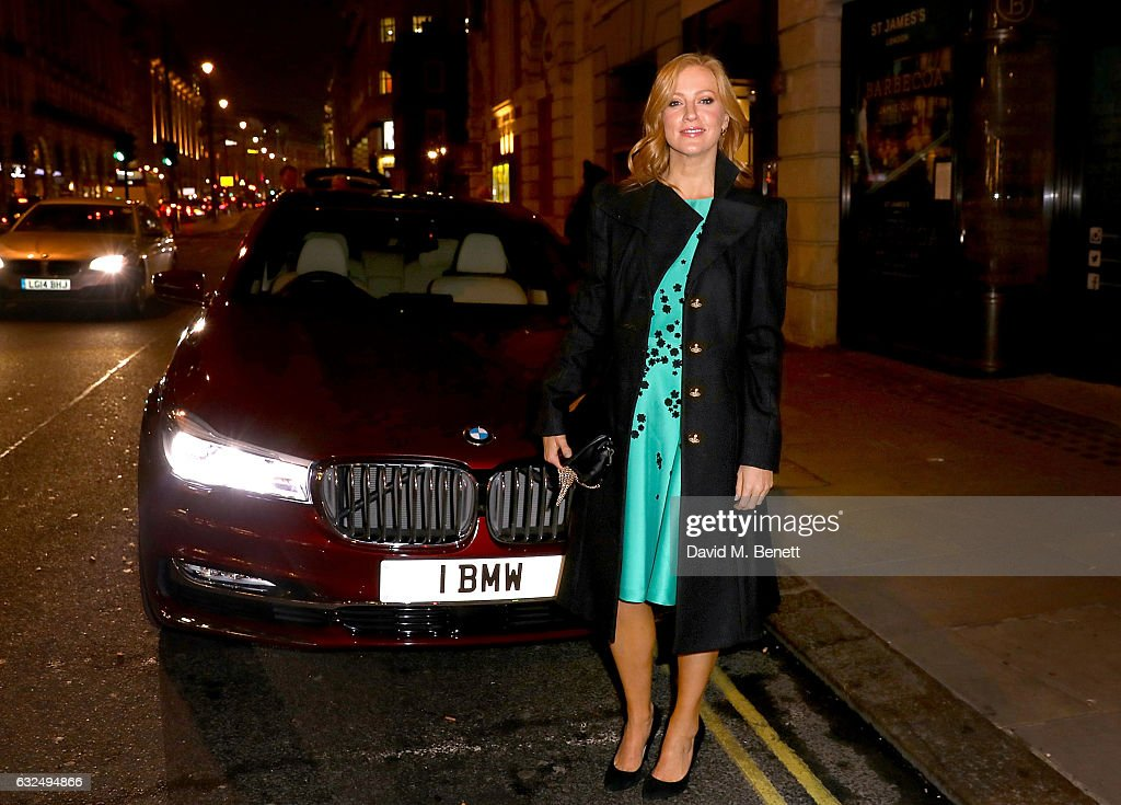 Sarah-Jane Mee arrives in style in the luxury BMW 7 Series at the Debrett's 500 Gala, at BAFTA on January 23, 2017 in London, England.