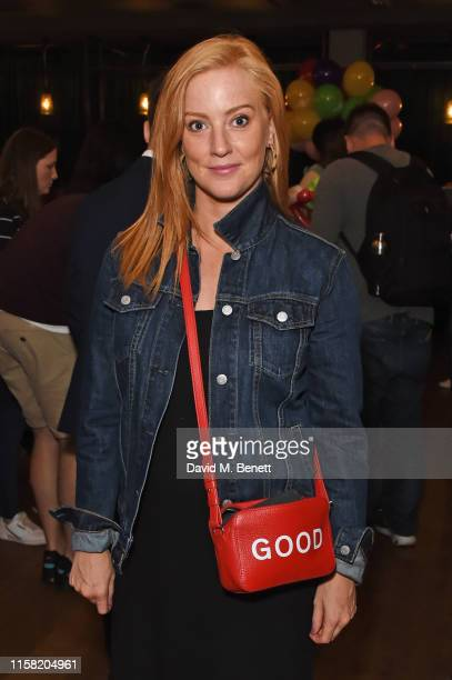 """Sarah-Jane Mee attends the gala screening of """"The Angry Birds Movie 2"""" at Vue Leicester Square on July 28, 2019 in London, England."""