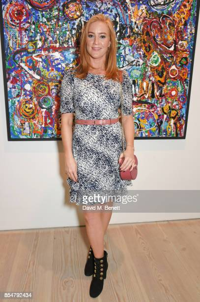 SarahJane Mee attends the private view and launch of Sacha Jafri's 18 year retrospective global tour Universal Consciousnes at The Saatchi Gallery on...