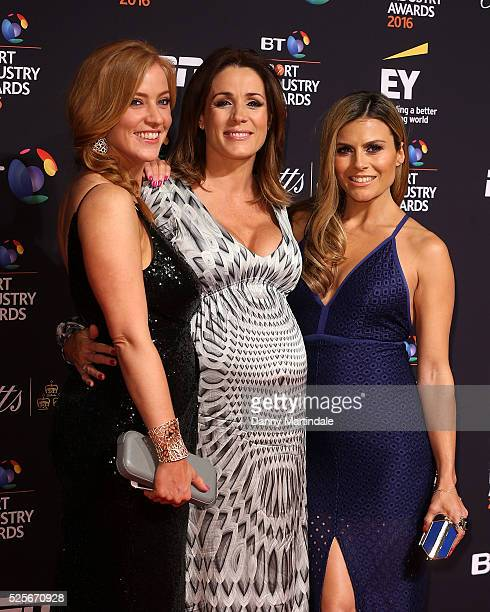 SarahJane Mee Natalie Pinkham and Zoe Hardman arrives for the BT Sport Industry Awards at Battersea Evolution on April 28 2016 in London England