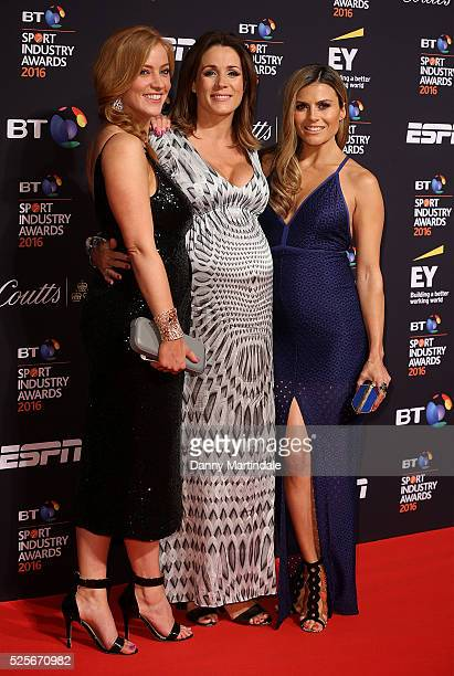 SarahJane Mee Natalie Pinkham and Zoe Hardman arrives for the BT Sport Industry Awards at Battersea Evolution on April 28 2016 in London England