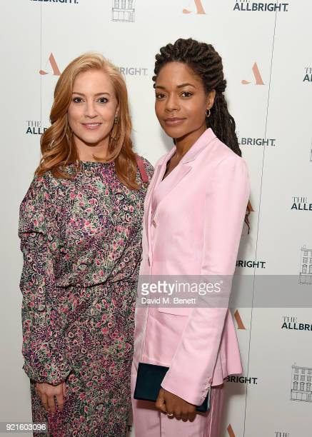 SarahJane Mee of Sky News and Naomie Harris attend the first femaleonly members club in the UK for working women The AllBright which opens its doors...