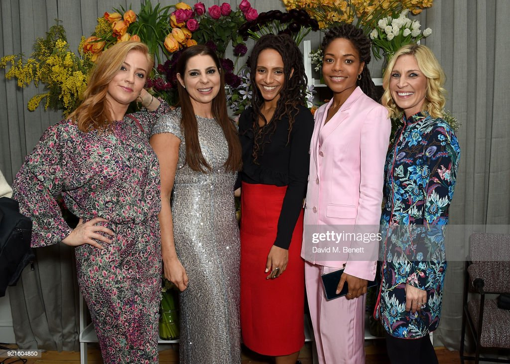 Sarah-Jane Mee of Sky News, Debbie Wosskow OBE, Naomie Harris and guests attend the first female-only members club in the UK for working women - The AllBright - which opens its doors to celebrities, politicians and actors on February 20, 2018 in London, England.