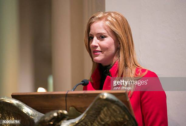 SarahJane Mee speaks during the Sentebale Christmas Carol Concert kindly supported by Savills at St Mary The Boltons on December 9 2015 in London...