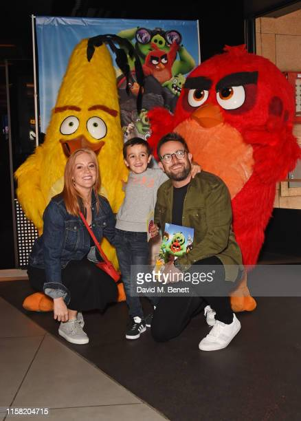"""Sarah-Jane Mee, Teddy Richardson and Ben Richardson attend the gala screening of """"The Angry Birds Movie 2"""" at Vue Leicester Square on July 28, 2019..."""